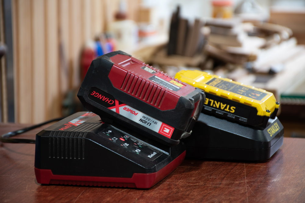 Lithium-ion batteries on charge for hand tools