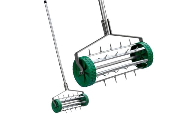 Outdoortips Lawn Garden Spiked Rolling Rotary Aerator