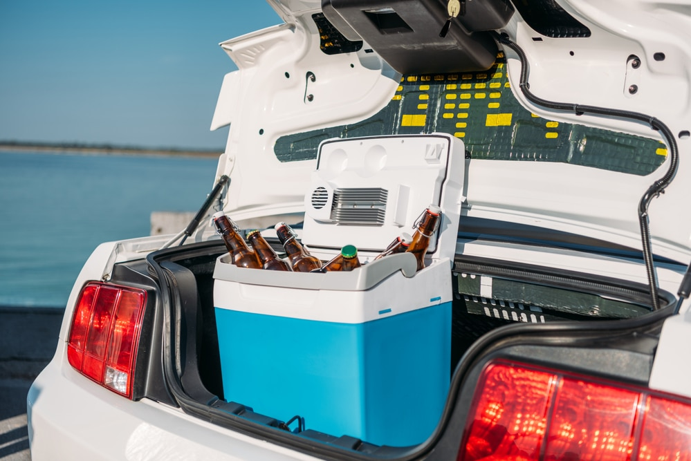 Portable beer cooler in the trunk