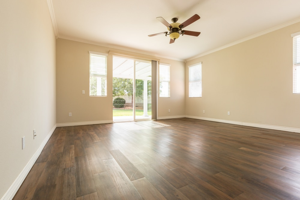 large room with finished wood floors